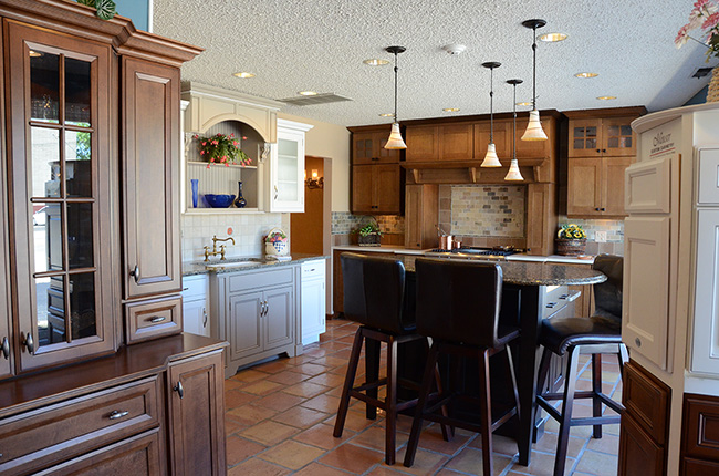 Showroom photo with multiple kitchen vignettes